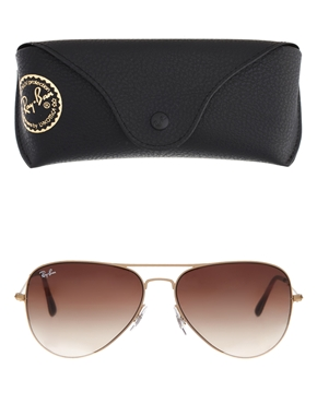 Ray-Ban | Ray-Ban Matte Gold Aviator Sunglasses at ASOS