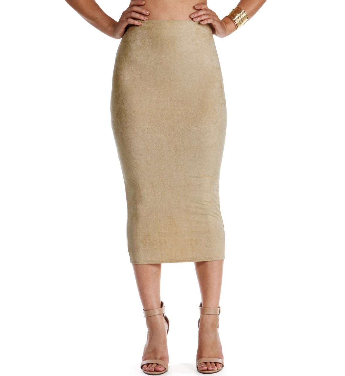 Faux Suede Midi Pencil Skirt