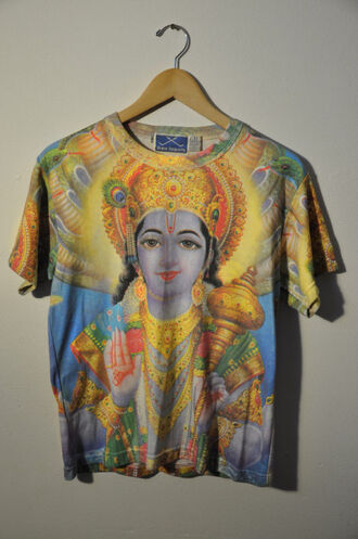 t-shirt blue shirt hippie bohemian indian yellow religious religion boho summer