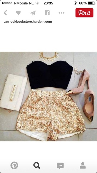 shorts shoes gold sequins crop tops high heels clutch spike necklace top high waisted shorts gold glitter
