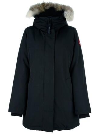 coat parka women cotton black