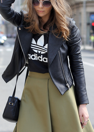 fashion and style blogger adidas originals olive green flare skirt black t-shirt black leather jacket jacket leather black