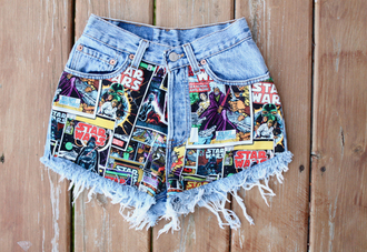 shorts comics jeans denim pockets pattern cartoon denim shorts high waisted denim shorts printed shorts star wars comic book print spikes & seams acid wash batman high waisted pastel color/pattern red blue green colorful darth vader short marvel starwarstheforceawakens