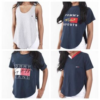 t-shirt shirt tommy hilfiger blue red white grey cool nice fashion fashion killer brand brown