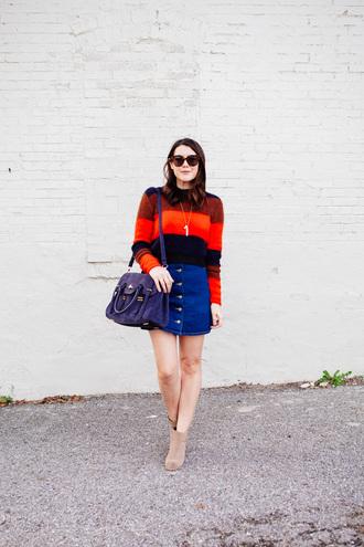 kendi everyday blogger denim skirt button up skirt striped sweater