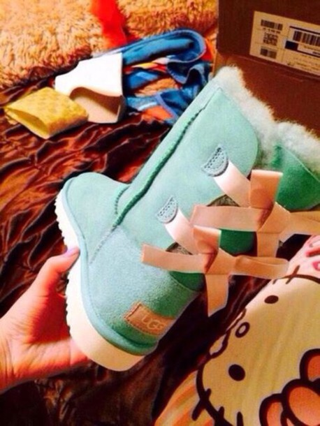 ugg boots, ugg boots, pink ribbons, turquoise, boots, mint green shoes - Wheretoget
