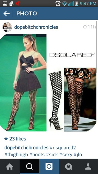 shoes dsquared dsquared2 thigh high boots thigh-high boots black heels