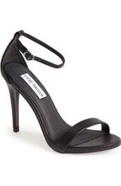 shoes,black sandals,sandal heels,ankle strap heels,black heels,steve madden