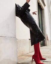shoes,red shoes,coat,black coat