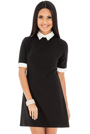 Black and White Collared Skater Dress