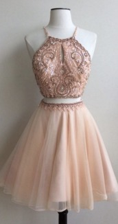 dress,champagne homecoming dresses,hollow homecoming dresses,crystal beads ruffle homecoming dresses,above-knee homecoming dresses,aline homecoming dresses,haltered homecoming dresses,sleeveless