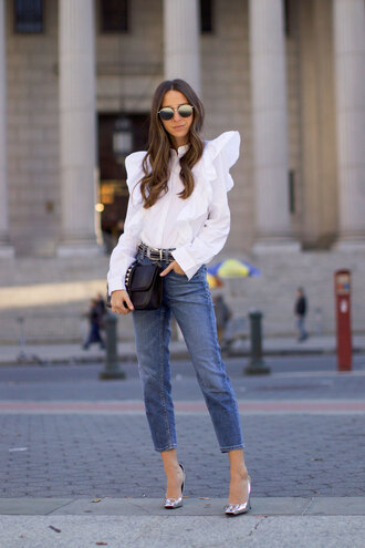 something navy blogger jeans shoes top sunglasses bag belt blouse ruffled top white blouse high heel pumps high heels black bag