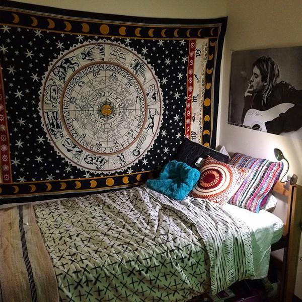 bedding boho home accessory cute blue home decor flag bedding stars calendar moon Accessory gold home decor tapestry kurt cobain boho room