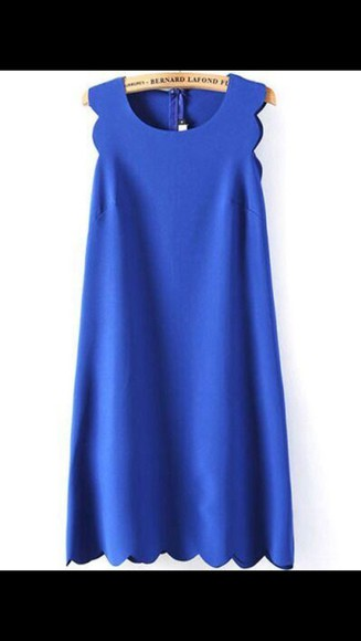 scalloped summer outfits cute dress summer dress blue royal blue sun dress
