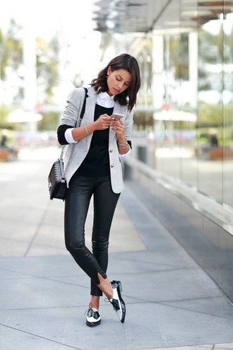 jacket pants blouse pullover black and white