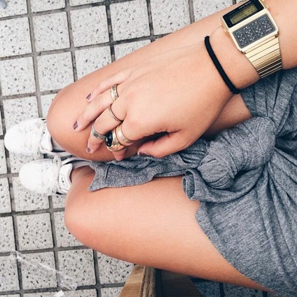 skirt grey tied knot skirt jewels gold watch watch shirt gold