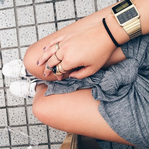 skirt grey tied knot skirt jewels gold watch watch shirt gold
