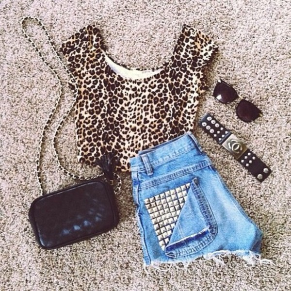 shorts leopard print studs high waisted denim