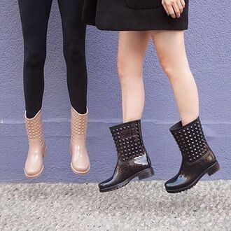 shoes nastygal wellies studded glossy nude black rounded toe fashion style trendy