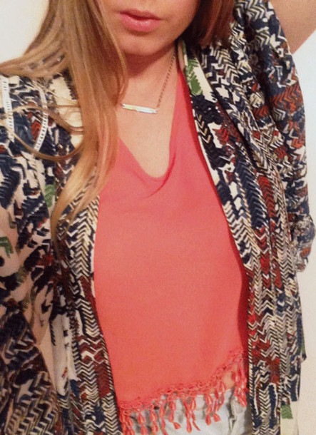 tank top coral fringes