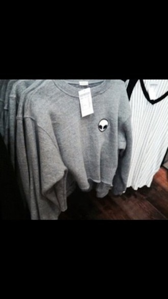 sweater alien are friends alien cute tumblr crop tops grey sexy grunge too cute depressing antisocial teenager