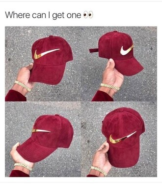 hat burgundy gold maroon with gold accents nike red velvet check nike hat bugundy nike hats red hat cute cute hat