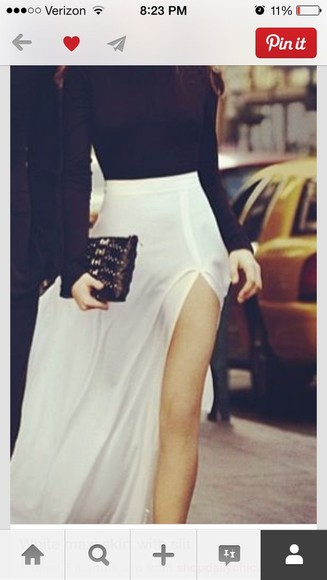 skirt white skirt slitted maxi skirt