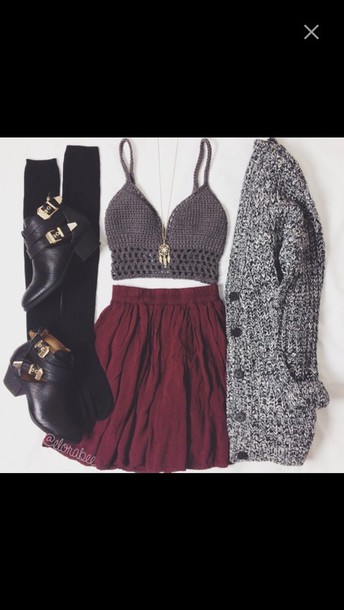shirt excatly this outfit blouse cardigan boots bralette skirt top grey knitted crop top