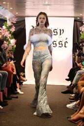 pants,dyspnea,lace top,lace,crop tops,sydney fashion week,fashion week,runway,model