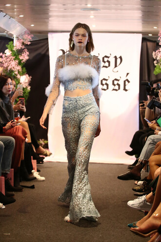 pants dyspnea lace top lace crop tops sydney fashion week fashion week runway model