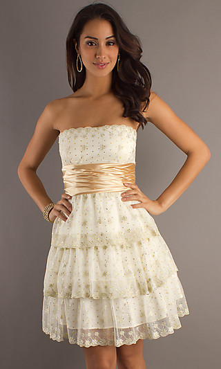 Prom dresses, celebrity dresses, sexy evening gowns at promgirl: short strapless holiday dress by la glo