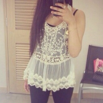 tank top white top lace top crochet top