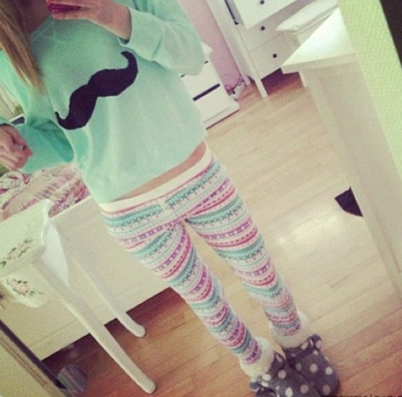 sweater mustache cute moustache hipster pants jewels pattern leggings printed leggings polka dots boots pj pants nightwear teal green mint green shoes