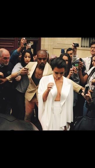 blouse white kim kardashian kardashians kanye west shirt coat cardigan