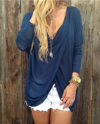 blouse blue shirt criss cross plunge v neck
