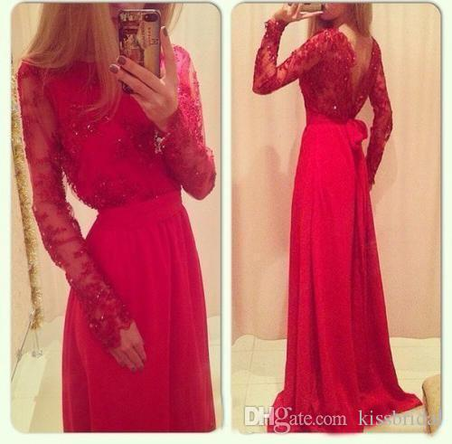 Discount Vintgae Red Long Sleeve Beaded Lace Prom Dresses Bateau Neck Open Back A-Line/Princess Floor-length Chiffon Formal/Evening Dress Online with $99.8/Piece | DHgate