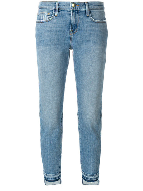 Frame Denim jeans straight jeans cropped women spandex cotton blue