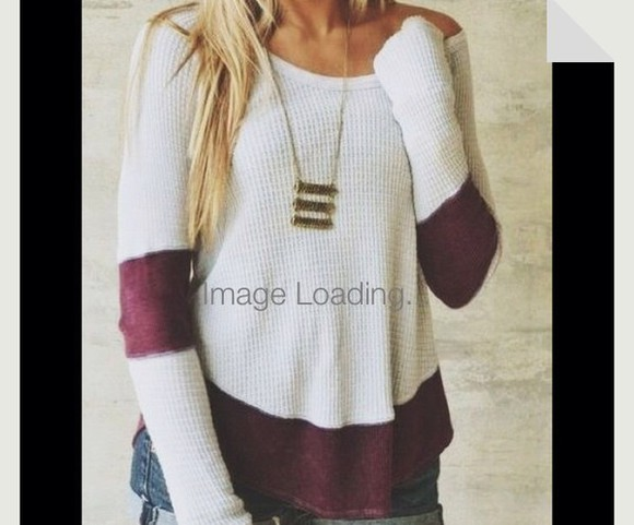 white sweater burgundy sweater