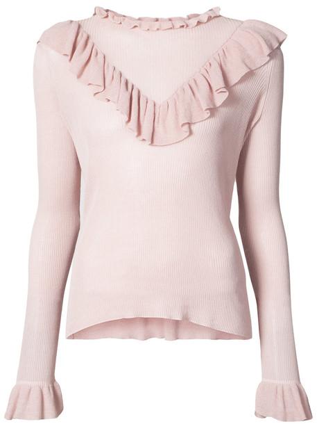 Ulla Johnson sweater ruffle sweater ruffle women cotton purple pink