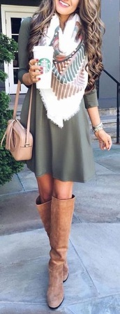dress,green fall dress,scarf,scarves,blanket scarf,three quarter sleeve dress,fall boots,boots,riding boots,tan boots,tan riding boots,green,tan,white,fall outfits,fall dress,fall scarves