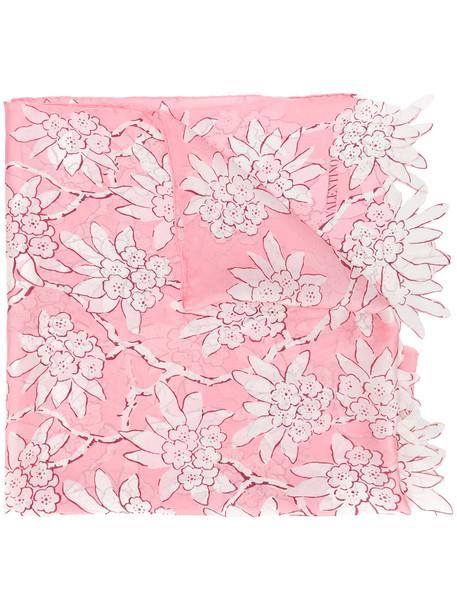 Valentino women scarf floral print silk purple pink