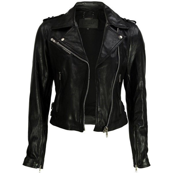 VIPARO Black Cropped Sleeve Leather Biker Jacket - Valerie - Polyvore
