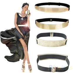 Online Shop Elastic Mirror Metal Waist Belt Leather Metallic Bling Gold Plate Wide Obi Band for Women Dress 2013 New Fashion Hot Selling|Aliexpress Mobile