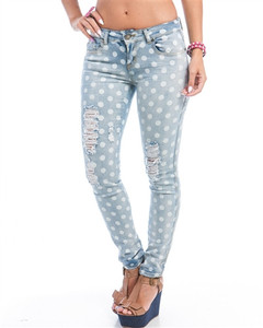 70e963e56ee Distressed White Polka Dot Destroyed Skinny Jeans Low Rise Stretch Pants Sz  1 | eBay