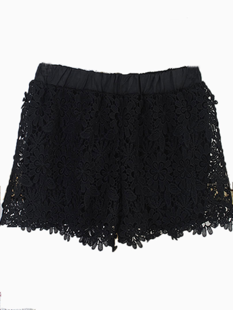 Black High Waist Crocheted Lace Shorts - Persunmall.com