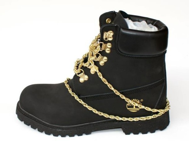 shoes boots timberlands black gold chain