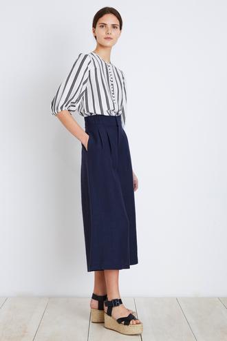 pants wide-leg pants high waisted pants pleated navy