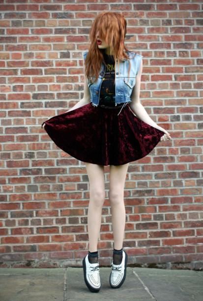 velvet skirt burgundy shoes skirt