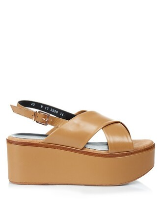 sandals flatform sandals leather tan light shoes