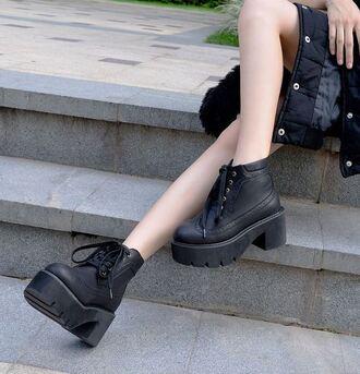 shoes boots black platform shoes grunge shoes it girl shop